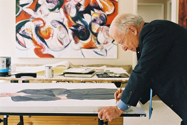 Arthur Erickson co-signing his portrait in my studio